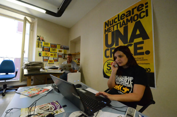 「原子力を止めるための投票委員会」オフィス。(11日、ローマ市内。写真:筆者撮影)