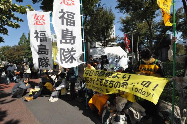 子供たちが被曝させられた福島の母親たちの怒りは、凄まじいエネルギーを発していた。=写真:筆者撮影=