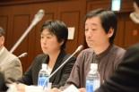 紛争審査会で意見陳述する宍戸さん(左)と中手さん。=20日、文科省。写真:筆者撮影=