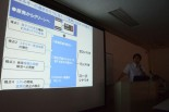 国家戦略室の説明。原発の利点をひたすら述べた。=6日、大阪府社会福祉会館。写真:田中撮影=
