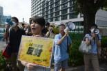 「ACTA反対」「ACTAは無効だ」のシュプレヒコールを懸命にあげる市民。=6日午後1時過ぎ、永田町。写真:田中撮影=