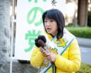 三宅雪子候補。「野田総理は官邸前の抗議の声にさえ耳を傾けなかった」などと話した。=6日、JR船橋駅前。写真:島崎ろでぃ撮影=